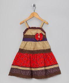 Look at this #zulilyfind! Taupe Floral Ruffle Bow Dress - Infant, Toddler & Girls #zulilyfinds