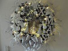 Türkranz Weihnachten Weihnachtskranz Weiß Beleuchtet Tilda-Art
