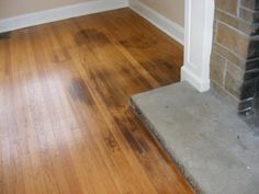 - To remove the urine smell from your hardwood floor, use enzyme cleaners such as Kids and Pets, Urine-Off, Simple Solution. - If your wood floor is badly stained, try using bleach. Sanding and revarnishing are also options but should be used as last resorts. - Image courtesy: woodfloordoctor.com