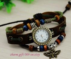 Leather bracelet watches handmade leisure watches by Charmgift009, $11.99