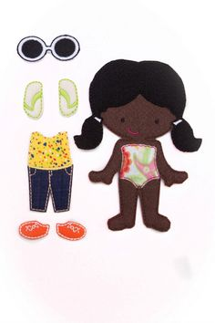 Felt Doll Gracy Non Paper Doll Doll with outfit by ChameleonGirls - black / African-American / person of color