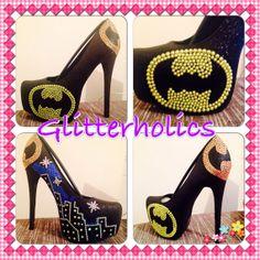 Batman comic ladies custom high heeled platform by Glitterholics, £80.00