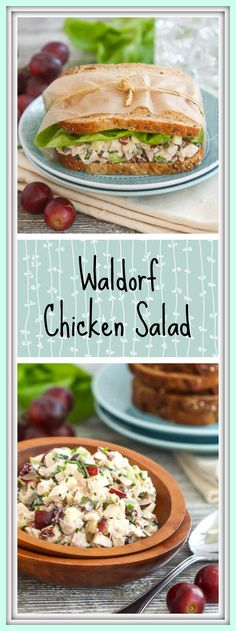 This Waldorf chicken salad combines leftover roast chicken, grapes, apples, celery, pecans and cranberries with a creamy dressing to make one tasty lunch. (Chicken And Apple Recipes) Entree Recipes, Lunch Recipes, Cooking Recipes, Sandwich Recipes, Apple Recipes, Gf Recipes, Sweets Recipes, Best Chicken Recipes, Chicken Salad Recipes