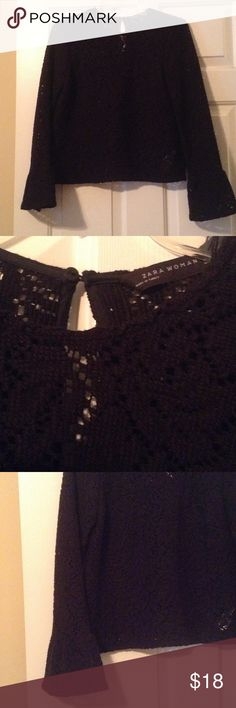 Zara Bell Sleeve Lace Top New Condition!! Great top.  No trades, offers welcome!!☺️ Zara Tops Blouses