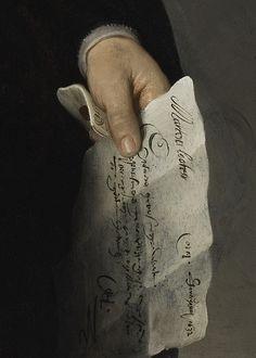 """Rembrandt van Rijn Portrait of Marten Looten (detail), c. """" A letter from Holland Home"""" 1632 Rembrandt Portrait, Rembrandt Art, Arte Dark Souls, Tableaux Vivants, Dutch Golden Age, Illustration Art, Illustrations, Dutch Painters, Classical Art"""