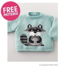 Free knitting pattern for Racoon Sweater and more wild animal knitting patterns