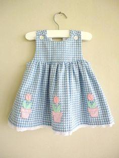 Vintage Dress Blue Gingham Pink Flower D - Diy Crafts Little Dresses, Little Girl Dresses, Girls Dresses, Toddler Dress, Toddler Outfits, Kids Outfits, Baby Dress Patterns, Kids Patterns, Kids Frocks