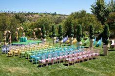 Pastel rainbow ceremony  seating ffff yes