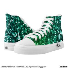 Dreamy Emerald Faux Glitter Printed Shoes