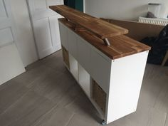 Most current Free Ikea hack. Kallax on heavy duty casters with of. Suggestions The IKEA Kallax line Storage furniture is an essential section of any home. Kitchen Island Ikea Hack, Kitchen Island Storage, Kitchen Ikea, Modern Kitchen Island, Kitchen Islands, Kitchen Decor, Kitchen Wood, Ikea Bar, Bookshelf Lighting