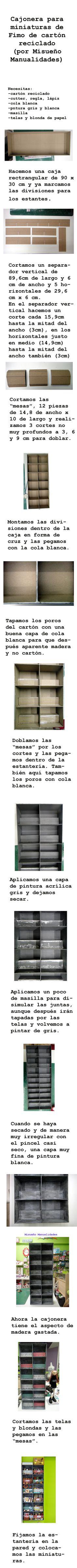 Paso a paso para hacer una estantería de cartón reciclado, en mi caso para las miniaturas de Fimo. www.misuenyo.com / www.misuenyo.es