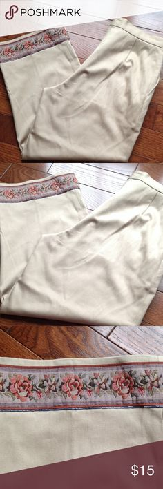 "Tan capris with ""tapestry look"" trim No pockets, 24 inch inseam, 1 inch waist band. dry clean only Time Future Pants Capris"