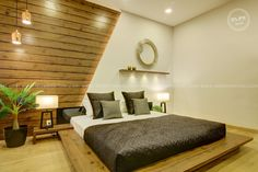 Bedroom with Floored Type Bed design In order to maintain the bedroom excellence, it is important to choose furniture that matches with the bedroom interior design. This is wher Bedroom False Ceiling Design, Master Bedroom Interior, Bedroom Closet Design, Bedroom Furniture Design, Kitchen Furniture, Royal Bedroom, Indian Bedroom Design, Modern Bedroom Design, Bad Room Design