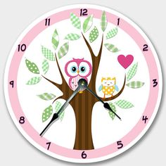 Wall clock MOD OWL Nursery art, Baby, Toddler, Girl, custom room decor on Etsy, $24.00