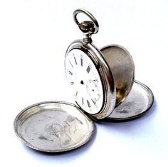 Antique Pocket Watch Swiss LONGINES Hunter Solid Silver 50mm 1900c Working  #Longines #ArtDeco