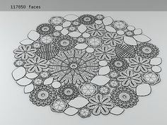 Inspiration :: Mixed motif rug line drawing (no pattern) #crochet