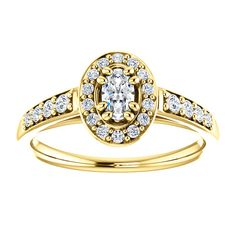 14kt Yellow Gold 5x3mm Center Oval Genuine Diamond (Color GHI, Clarity SI2-SI3) or 14 Halo Diamonds (Color I-J Clarity I1) and 8 Accent Diamonds (Color I-J Clarity I1) Engagement Ring ...(ST122207:1532:P).! Price: $1199.99