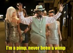 I'm a pimp, never been a wimp...