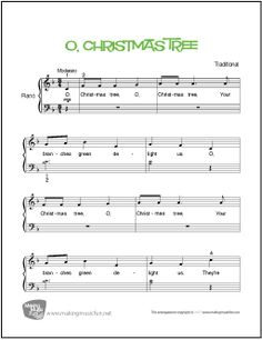 O, Christmas Tree from A Charlie Brown Christmas - Beginner Piano Sheet Music - Visit MakingMusicFun.net for more free and premium sheet music, music lesson plans, and great composer resources.