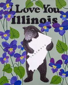 Our I Love You Illinois Print celebrates the Prairie State with the official flower, the violet. Designed by Annie Galvin at 3 Fish Studios in San Francisco, California, and printed on-site in the Outer Sunset with 8-color UltraChrome K3™ inks on 300 gsm Hot Press Bright paper. Archival, highest possible quality.