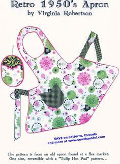 Free Online Apron Pattern | Pattern Gate – Vintage Sewing Patterns – Online Shopping Mall
