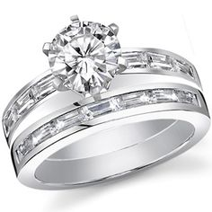 Baguette Moissanite Engagement Ring Setting 1.3ct