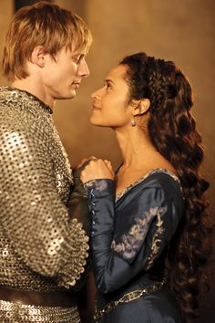 Bradley James as Arthur and Angel Coulby as Gwen #Merlin #MerlinMonday