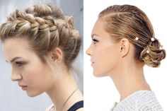 "Ethereal updos appeared with decorative feathers, crystals, and gold leaf, but Chanel's (right( side-parted chignons with elegantly placed pearls were an instant favorite. At Valentino (left), Guido modernized a romantic Frida Kahlo braid by removing wisps of hair for an ""easy, soft"" finish."