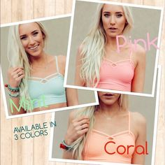 seamless bralette  (price is for 1 bralette ) BRALETTE  •Available in 3 diff. colors: PINK, CORAL, MINT  •One size fits most.  •So many ways to wear a bralette.  *it can wear it under a low cut top *perfect pair to a maxi dress  *it can be worn with a high waist shorts *wear it with a high waist pants *wear it under a kimono and lots lot more!   •PLEASE DO NOT BUY THIS LISTING COMMENT BELOW WHAT COLOR & QUANTITY AND I WILL CREATE ANOTHER LISTING FOR YOU. THANKS  NO TRADE NO PAYPAL PRICE IS…