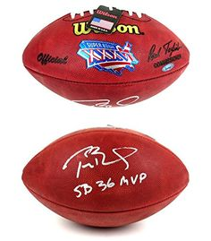 """Tom Brady Autographed/Signed New England Patriots Wilson Authentic Super Bowl 36 NFL Football with """"SB 36 MVP"""" Inscription - Tristar *** Learn more by visiting the image link."""