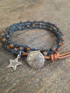 Boho Chic Crochet & Leather Multi Wrap $32.00
