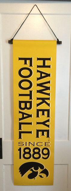 Iowa Hawkeye Football Canvas Banner, Garden Flag, Man Cave Decor, Christmas Gift, Father's Day, Iowa Wrestling, Basketball