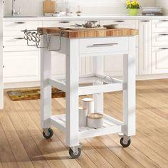 Wire Basket Shelves, Kitchen Work Station, Butcher Block Top, Butcher Block Kitchen Cart, Kitchen Carts On Wheels, Kitchen Trolley, Butcher Blocks, Solid Wood Kitchens, Wood Counter