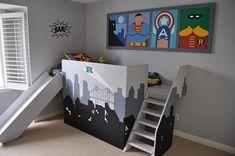 Super hero fanatics bedroom