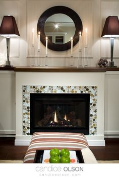 Fireplace Tile Surround Idea • Wood Mantle Over Fireplace • Styling Fireplace Mantle • Modern Fireplace Design • #candiceolson #candiceolsondesign Fireplace Tile Surround, Fireplace Design, Wood Mantle, Fireplace Mantle, Candice Olson, Modern Fireplace, Olsen, Bellisima, Decorating Ideas