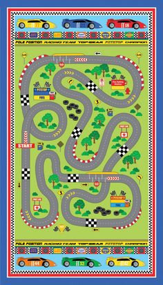 northcott speedway panel of fabric boy race car racetrack road play mat quilt