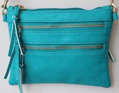 turquoise crossbody bag with zippers converts to wallet and wristlet with attachable strap - just added to the fort & field shop!
