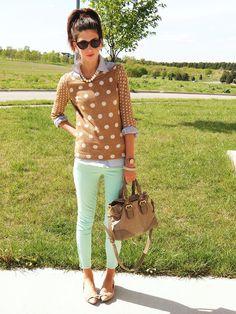 green skinnies and polka dots