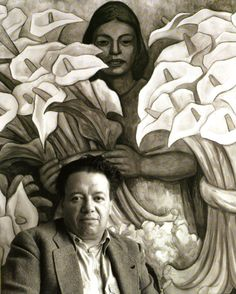 Diego Rivera in front of the charcoal and watercolor drawing The Calla Lily Vendor (1938). Photo by Manuel Alvarez Bravo, 1945.
