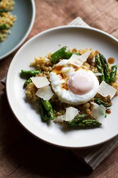 Poached Egg with Crunchy Quinoa and Brown Butter Asaparagus | http://saltandwind.com