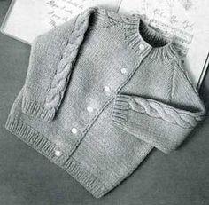 Ravelry: Vintage Cardigan Pattern By Hel - Diy Crafts - Qoster Baby Knitting Patterns, Baby Sweater Patterns, Knit Cardigan Pattern, Baby Patterns, Toddler Cardigan, Baby Cardigan, Vogue Knitting, Free Knitting, Kids Knitting