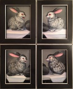 """TEXT MESSAGE BUNNIES 1 - 4, Laurie Hogin. Oil on Panel, 3 x 4"""" each"""