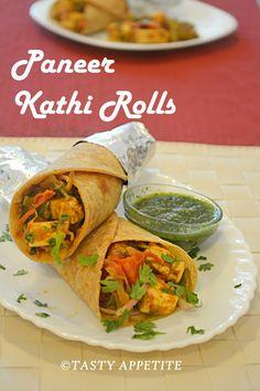 Tasty Appetite: PANEER KATHI ROLLS / EASY PANEER RECIPES / STEP BY...