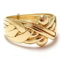 solid 14k yellow gold 6 band turkish puzzle ring