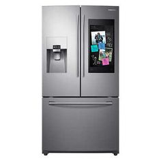 Samsung Family Hub Family Hub ft French Door Refrigerator with Ice Maker (Stainless Steel) ENERGY STAR at Lowe's. Samsung& Family Hub refrigerator helps you connect to what& most important: your family and home, whenever and wherever. Family Hub lets you Stainless Steel Refrigerator, Samsung Fridge, Home Depot Kitchen, Steel Cabinet, French Doors, Energy Star, Refrigerators, Ice, Luxury Kitchens