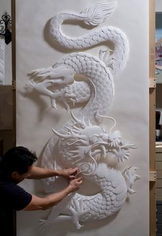 Jeff Nishinaka ~ Paper Sculpture Dragon (symbolic of Yang energy or the Emperor, to complement the Phoenix, symbolic of Yin energy or the Empress.)