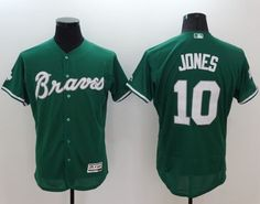Braves  10 Chipper Jones Green Celtic Flexbase Authentic Collection  Stitched MLB Jersey 3af4c8028