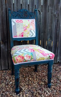 Milk paint furniture. Quirky upholstery. Patchwork quilted upholstery. Three Sisters Design