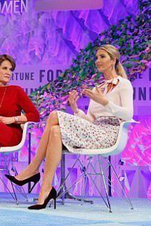 Ivanka Trump wearing Ivanka Trump Carra3 Pumps and Altuzarra Floral Pencil Skirt