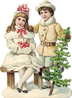 Glanzbilder - Victorian Die Cut - Victorian Scrap - Tube Victorienne - Glansbilleder - Plaatjes : Winterkinder
